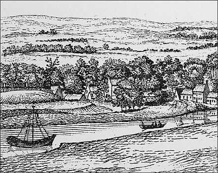 An eighteenth-century engraving of the southern bank of the River Clyde at Govan. The scene shows a now-nonexistent artificial hill that could to have been the royal assembly site of the Kingdom of Strathclyde following the fall of Al Clud. A view of the banks of the Clyde taken from York Hill.jpg