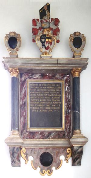 Aaron Baker - Mural monument to Aaron Baker in Dunchideock Church, Devon