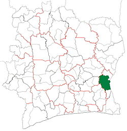 Location in Ivory Coast. Abengourou Department has had these boundaries since 2008.