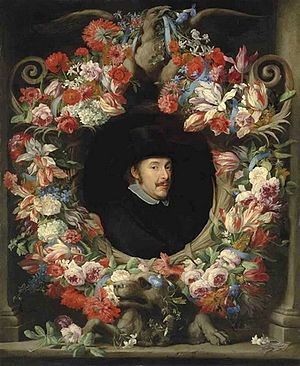 Abraham Brueghel - Sculptural cartouche with garland, possibly a self-portrait