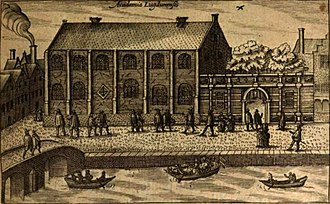 The Academy building of Leiden University in 1614. Academia Leidensis (cropped).jpg