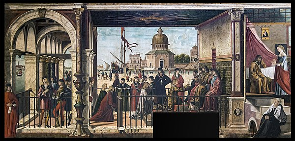 Arrival of the English Ambassadors by Vittore Carpaccio, painted between 1495 and 1500--though ostensibly part of a series of paintings on the life of Saint Ursula, this actually depicts the developing diplomatic practices of the Republic of Venice in the painter's own time Accademia - Arrivo degli ambasciatori inglesi presso il re di Bretagna di Vittore Carpaccio.jpg