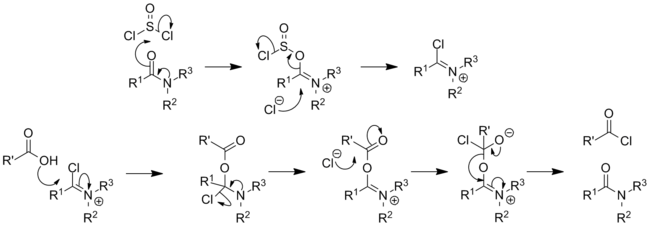Acyl chloride via amide catalysis.png
