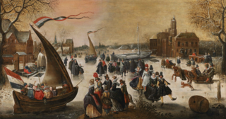 Winter landscape with elegant skaters on a frozen lake, ice-breakers and a town in the distance