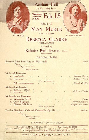 "Rebecca Clarke (composer) - A 1918 program showcasing Clarke's work. Here, her duet Morpheus is credited to the pseudonym ""Anthony Trent"""