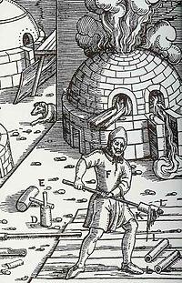 Κυπέλλωση αργύρου από τήγμα αργυρούχου μολύβδου. Από το βιβλίο του γερμανού Georg Agricola De re metallica (Περί μεταλλικών πραγμάτων), 1556.
