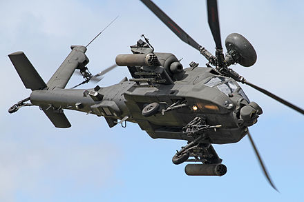 Like many attack helicopters, the AgustaWestland Apache has a tailwheel to allow an unobstructed arc of fire for the gun. AgustaWestland Apache AH1 10 (5968018661).jpg