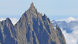 Aiguille du Grépon - The Grépon as seen from the south from Pointe Helbronner, showing the SW ridge and E face.
