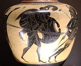 Vaso greco raffigurante Enea che fugge da Troia con il padre Anchise in spalla.