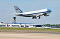 Air Force One takes off from the North Carolina Air National Guard base at Charlotte Douglas International Airport in Charlotte, N.C., Aug. 26, 2014, as President Barack Obama leaves the city after delivering 140826-Z-FY745-158.jpg