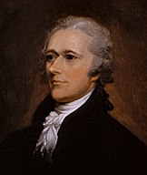 Formal portrait of Alexander Hamilton, part of a dual image of Jefferson and Hamilton