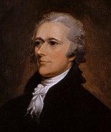 Retrato formal de Alexander Hamilton, parte de uma imagem dupla de Jefferson e Hamilton