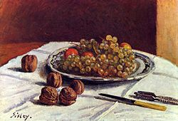 Alfred Sisley: Grapes and Walnuts on a Table