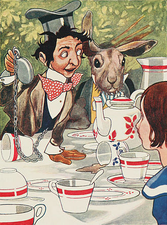 Alice's Adventures in Wonderland - Mad tea party. Theophilus Carter has been suggested as a model for the Hatter. Illustration by Charles Robinson