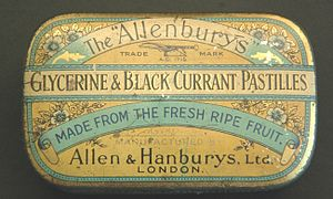 "Allen & Hanburys - Tin for ""Allenburys"" blackcurrant pastilles"
