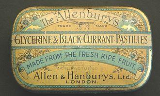 "Allen & Hanburys - Tin for ""Allenburys"" blackcurrant pastilles"
