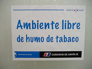 Smoking in Argentina - A sign in a government office in Rosario, Santa Fe: Tobacco smoke-free environment, reflecting provincial Ministry of Health regulations.