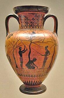 Ceramica a figure nere wikipedia for Vaso greco a due anse