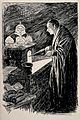 An alchemist using bellows on a small furnace to heat a conc Wellcome V0011641.jpg