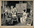An artist petitioning an elderly client while a young seated Wellcome V0049676.jpg