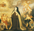 Ana de Jesús with the shields of Brabant, France ans Spain, Brussels, ca. 1650.png