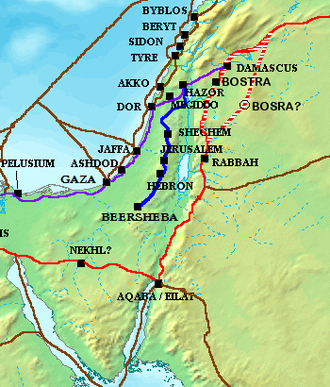 Way of the Patriarchs - Way of the Patriarchs (blue) with Via Maris (purple) and King's Highway (red)