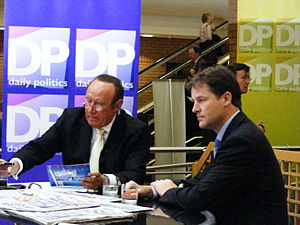 Andrew Neil - Nick Clegg (right) being interviewed by Andrew Neil for The Daily Politics