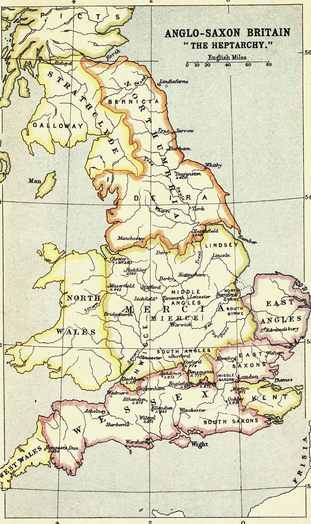 Map Of England Under Alfred The Great.Heptarchy Simple English Wikipedia The Free Encyclopedia