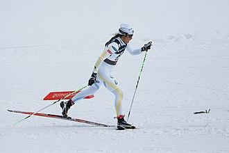 Ski pole - Anna Haag using poles for cross-country skiing