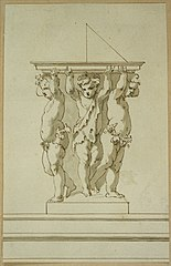 Design for a group of statues with sundial