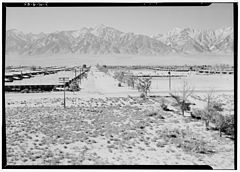 Ansel Adams Manzanar - Manzanar from Guard Tower, view west (Sierra Nevad - LOC ppprs-00200.jpg