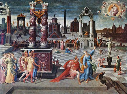 Augustus and the Tiburtine Sibyl, Antoine Caron, c. 1580 Antoine Caron 001.jpg