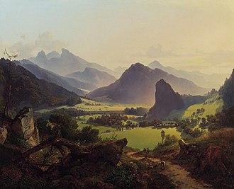 Landl - Looking into the Landl valley of Styria; Anton Hansch, 1837