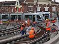 Anzin & Valenciennes - Travaux de raccordement des lignes A & B du tramway de Valenciennes à la Croix d'Anzin le 20 août 2013 (09).JPG