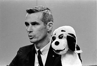 Gene Cernan - Cernan and Snoopy during Apollo 10 press conference