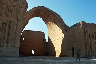 Siege of Ctesiphon (637) - Taq-i Kisra, the ruined arch that is the only existing structure in Ctesiphon, was built by Khosrow II after the Lazic War in 540, which was part of the Persian imperial palace and served as a mosque after the Muslim conquest in 637.