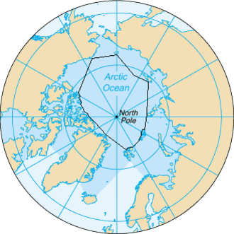 Borders of the oceans - The borders of the Arctic Ocean, according to the CIA The World Factbook (blue area), and as defined by the IHO (black outline - excluding marginal waterbodies).