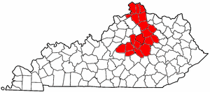 Area code 859 - Approximate service area of Area Code 859 is in red.