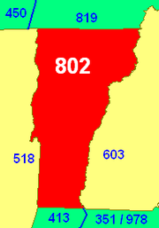 The red area is Vermont's only area code 802 with surrounding area codes.