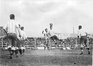 Sport in Argentina - Argentina playing against Uruguay in 1927. The Clásico del Río de la Plata is one of the oldest derbies in the world.