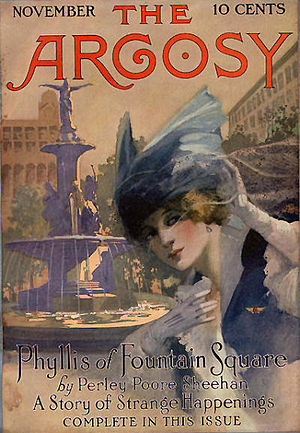 """Perley Poore Sheehan - Sheehan's """"Phyllis of Fountain Square"""" was the cover story in the November 1916 issue of The Argosy"""