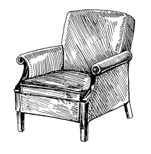 Line art drawing of an armchair