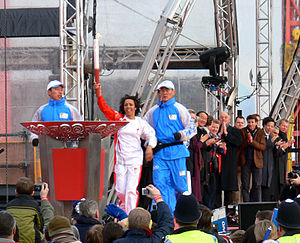 2008 Summer Olympics torch relay - Arrival of the Olympic Torch in the O2 Arena.