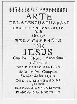 Jesuit reduction - Title page of a book on the Guarani language by two Jesuits, printed at a reduction in 1724.