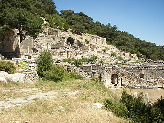 Arycanda - The necropolis is seen on the slope of the hill, the gymnasium and thermae are located at its foot