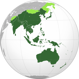 Asia-Pacific - Map showing general definition of Asia-Pacific. Dark green refers to the core Asia-Pacific countries, light green refers to regions that may be included.