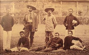 École nationale de la France d'Outre-Mer - Explorer Auguste Pavie (third from left, standing) and Pierre Lefèvre-Pontalis in 1893 with Cambodian interpreters trained at the École coloniale.