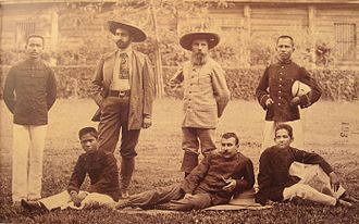 Sihanoukville (city) - French civil servant Auguste Pavie (center)  and Pierre Lefèvre-Pontalis in 1893  with Cambodian interpreters