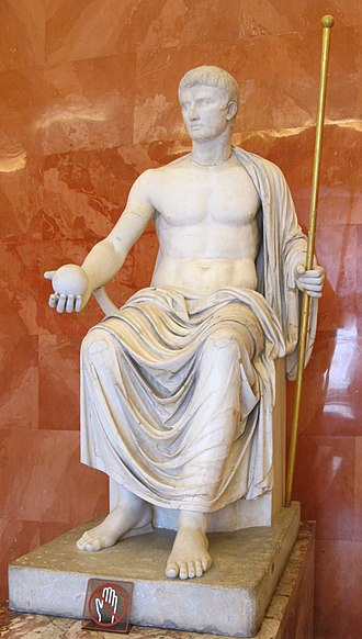 Imperial cult of ancient Rome - Augustus as Jove, holding scepter and orb (first half of 1st century AD)