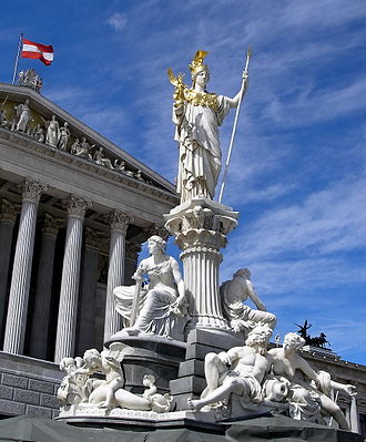 Greek mythology in popular culture - Image: Austria Parlament Athena (jha)